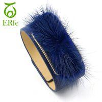 Wholesale wristband fur - ER 2017 Green Grey Blue Wide Leather Bracelet Women Fur Cuff Bangle Female Wrist Bands Unique Wristband Jewelry WB006