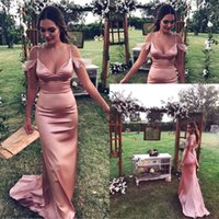 Wholesale silk back wedding dress for sale - Group buy 2018 Sexy Straps Spaghetti V Neck Sheath Long Bridesmaid Dresses Sexy Open Back Long Maid Of Honor Gowns Wedding Guest Wear BA7827