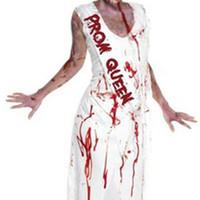 mulheres vestido zombie venda por atacado-Mulheres Prom Rainha Role Play Longo Vestido Carnaval Zombie Traje Assustador Múmia Bruxa Roupas de Halloween Cosplay