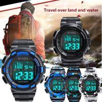 Wholesale shark sport watch digital - Mens Stainless Steel LED Digital Date Alarm Waterproof Sports Army Quartz Watch Reloj para Hombres #P