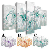 Wholesale piece lily painting for sale - Group buy Canvas Painting No Frame Wall Picture Printed Spray Painting Home Decor Extra Mirror Border Pieces Colorful Lily