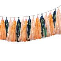 sarken çelenk toptan satış-30 Adet Gökkuşağı Püskül Garland Afiş Bayrakları DIY Cadılar Bayramı Vaftiz Düğün Dekorasyon Doğum Günü Yanardöner Parti Malzemeleri Dekor