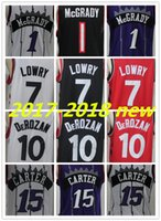 Wholesale flash style - 2017-2018 New Brand Player Style Shirts 7 Kyle Lowry Raptors 10 Demar DeRozan 1 Tracy McGrady 15 Vince Carter red black Stitched jersey