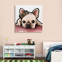 Wholesale pets painting for sale - Group buy High Quality Handpainted HD Print Modern Abstract Animal Art Oil Painting Cute Dog Pet On Canvas Home Decor Wall art Multi Size a152