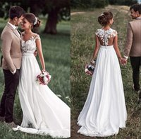 robes longues en mousseline de soie pure achat en gros de-Boho Beach Pays robes de mariée pure cou cape manches appliques dentelle mousseline de soie dos nu robes de mariée