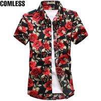 Wholesale men pattern flower shirt - 2017 Fashion Cotton Flower Pattern Shirts Men Floral Shirts Short Sleeve Slim Dress Shirt Mens Camisa Masculina Plus Size M-5XL