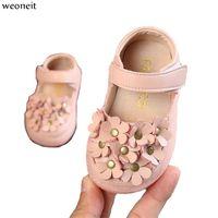 ingrosso solide scarpe per bambini neri-Weoneit Soft Neonate Scarpe in pelle Solid Enfant Scarpe per bambini Black Beige Flowers Princess Children