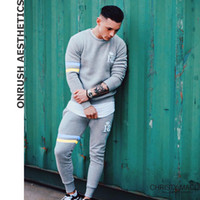 bodybuilding suits Australia - OA Fitness Mens Outfit Bodybuilding Casual Round Collar Pullover Tops + Elastic Breathable Workout Sweatpants Jogger Suits