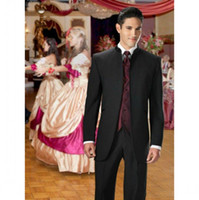 Wholesale Gray Wool Jacket High Collar - High Quality Black Groom Tuxedos Stand Collar Groomsmen Best Man Suits Mens Wedding Suits (Jacket+Pants+Vest+Tie) NO:941