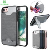caso floveme venda por atacado-FLOVEME PC + TPU Silicone Phone Case com slot para cartão oculto para iPhone 7 / iPhone 8 IPA_21Q
