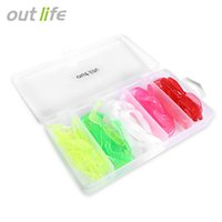 Wholesale fishing maggot - Outlife 50pcs   Box 6.5cm Soft Curly Tail Worm Fishing Lure Artificial Maggot Grub Carp Fish Bait Tackles Artificial Maggot Grub Carp Fish