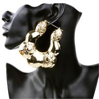 Wholesale big gold bamboo earrings - whole saleExaggerated Bohemian Big Hoop Earrings for Women Retro Punk Bamboo Basketball Gold iron Earrings Fashion Jewelry ER012