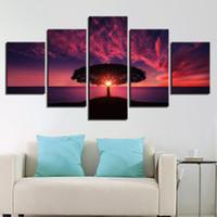 kırmızı soyut sanat resimleri toptan satış-Tuval Resimlerinde Duvar Sanatı Çerçevesi 5 Parça Ağaç Kırmızı Günbatımı Deniz Manzara Resimleri HD Baskılar Tarafından Soyut Posterler Ev Dekor