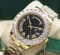 Wholesale Diamond Factory Supplier Watch - Factory Supplier Day-Date 2 II 41MM President 18k Yellow Gold 18038 Bigger Diamond Automatic Mechanical Mens Watch Roman Men's Wrist Watches