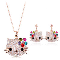 Wholesale italina jewelry brand resale online - Brand Italina Jewelry Sets for Women Earrings Necklace Women Lovely Joyas Ouro Austria Crystal Rose Gold Color Kids Jewellery
