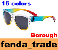 Wholesale Reflective Lenses - Brand borough sunglasses beach Sports cycling glasses fashion 15 colors classic Fashion Eyewear UV400 reflective lens 10pcs Factory Price