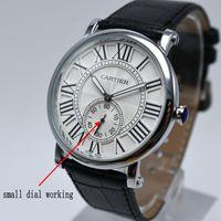 Wholesale Elegant Leather Watch - Wholesale 40mm men fashion elegant AAA brand quartz leather watch casual simple analog men dress watch hot sale male clocks relogio saati