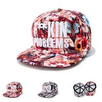 nuevos hombres de flores snapback al por mayor-Nueva versión coreana de sombrero de flores de color de alta calidad flores hombres y mujeres hip hop gorras de béisbol de verano sombrero de sol ocasional Snapback