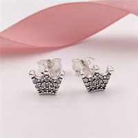 Wholesale silver earrings online - Authentic Sterling Silver Studs Enchanted Crowns Stud Earrings Fits European Pandora Style Studs Jewelry CZ