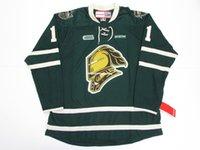 hockey jerseys оптовых-Дешевые пользовательские JOHN CARLSON OHL LONDON KNIGHTS GREEN CCM PREMIER HOCKEY JERSEY персонализированные трикотажные изделия для хоккея