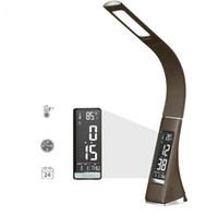 led reloj dc al por mayor-Oficina de cuero moderna LED Lámpara de escritorio con atenuación táctil Lámpara de mesa con pantalla LCD Reloj despertador / Calendario para regalo de empresa