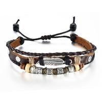 cuerdas de bronce al por mayor-Pulseras de cuero tejidas a mano Cadena de múltiples capas de cuentas de madera Pulseras de viento nacional de bronce antiguo por mayor