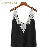 Wholesale Rayon Tank Top L - CHAMSGEND Coolbeener Women Lace Vest Top Sleeveless Casual Tank O-Neck Summer Tops T-Shirt mar8