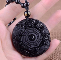 Wholesale Chinese Jade Necklaces - Natural Obsidian Black Jade Pendant Chinese Dragon phoenix Eight Diagrams A43