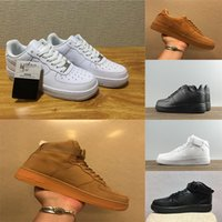 Wholesale golf cut - 2018 High Quality Forcing Shoes All White Black Brown High Low Cut Men and women Sports Sneakers Running Shoes Forcing one Skate Shoes
