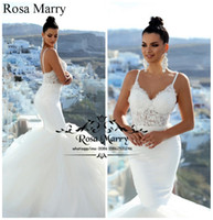 Wholesale Vintage Greek Wedding Gowns - Sexy Plus Size Mermaid Greek Wedding Dresses 2018 Backless Vintage Lace White Puffy Tulle Beach Country Cheap Bridal Gown Vestido De Novia