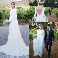 düğün olmayan düğün elbisesi düğmeleri toptan satış-2018 Yeni Ülke Gelinlik Uzun Kollu Bateau Boyun Backless Sweep Tren Bohemia Kılıf Düğmeler Ile Gelinlik Gelinlikler