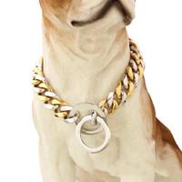 ingrosso collare di cane argento oro-Nuovi collari di alta qualità creativi dell'acciaio inossidabile di lucidatura Collari per animali domestici Collari dell'animale domestico Collare di cane d'argento d'oro Alta qualità 42tg aa
