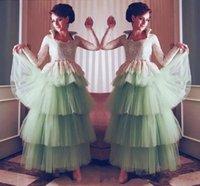 assoalho vestido do baile de finalistas hortelã venda por atacado-Vestidos de noite de hortelã árabe Lace mangas compridas Prom vestidos com Layered saia de tule Vestido Longo até o chão Vestidos de festa formal desgaste