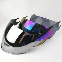 линзы для линз ls2 оптовых-LS2 OF562 открытое лицо половина козырька мотоцикла заменить солнцезащитные очки щепка красочные черные дополнительные линзы для оригинальных шлемов LS2