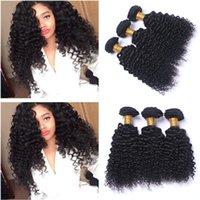 insan saçı örgü renk siyah toptan satış-Hint Derin Kıvırcık Bakire İnsan Saç Paketler Doğal Siyah Renk İnsan Saç Dokuma uzantılarıyla 3pcs çok Kıvırcık Hint Saç Dokuma fiyatlarına