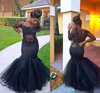 Wholesale Royal Vintage Patterns - 2018 Charming Mature Black Prom Dresses Long Sleeve Plus Size Lace Pattern Sweep Train Lace Formal Evening Dresses Gowns