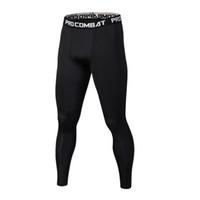 ingrosso joggers ansia magro-Pantaloni da uomo di colore puro Pantaloni da allenamento Bodybuilding Pantaloni da palestra Quick Dry Skinny Leggings Pantaloni da uomo con camouflage Crossfit