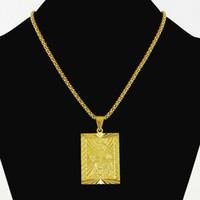 colgante cuadrado de oro para hombre al por mayor-Joyas de Hiphop de moda para niño de los hombres 24 K Color oro puro colgantes cuadrados Collar Chapado en oro de la vendimia Collares Cadena de palomitas de maíz