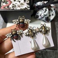 jóias abelhas venda por atacado-Mais recente marca de moda brincos de abelha, grandes brincos de pérola De alta qualidade flash de diamante brincos jóias
