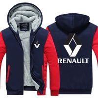 Wholesale cars hooded online - Men Velvet Thicken Hooded Sweatshirts Renault Car Zipper Hoodies Winter Cardigan Jacket Coat Pullover USA EU Size Plus Size