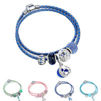 Wholesale girls silver charm bracelets - Genuine Leather Cord Crystal Faceted Butterfly Glass Beads Lovely Charm Bracelets& Bangles with Dress Pendant Girl jewelry Gift