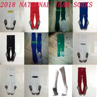 Wholesale yellow stockings - 2018 Belguim Soccer socks Knee High cotton football stocking Mexico home away sport socks Thicken Towel Bottom 18 19 National team long hose