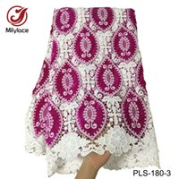 Wholesale guipure lace dresses - High quality african guipure lace fabric embroidery material nigerian water soluble guipure lace fabric for dress PLS-180