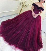 Wholesale Princess Dresses Age 12 - 2018 Wine Red Quinceanera Dress Princess Arabic Dubai Off Shoulder Sweet 16 Ages Long Girls Prom Party Pageant Gown Plus Size Custom Made
