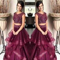 Wholesale arab strap picture resale online - Burgundy Beading Two Piece Prom Dresses Jewel Cap Sleeve A Line Organza Pieces Evening Party Gown Pageant Celebrity Dress Africa Arab