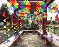 hilandero plegable al por mayor-Aire libre Arco Iris Espiral Windmill Windock Jardín Decorar Durable Girar Portátil Spinner Cinta de color Tejido plegable MMA631