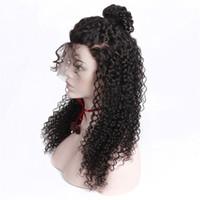 полный кружево без glueless перуанский оптовых-Glueless предварительно сорвал полный кружева человеческих волос парики для чернокожих женщин кудрявый вьющиеся парик перуанский человеческих волос с волосами младенца Реми 130% HCDIVA