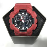 освещенные часы оптовых-Большие наручные часы, Мужские спортивные часы циферблатом, светодиодные часы водонепроницаемый альпинизм цифровой мужские, все указатель работы, коробки, автоматический свет.