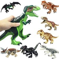 Wholesale Block - Dinosaur Building Blocks 3D Assembly ABS Plastic Dunosaur Miniature Action Figures OPP Packing Jurassic Park The Dinosaur World For Kids