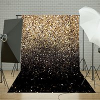 ingrosso studi fotografici di sfondi-Freya 50x210cm Vinile Party Glitter oro nero Dot Fotografia Photo Studio Fondale Fotografia Sfondo 5x7ft per foto in studio